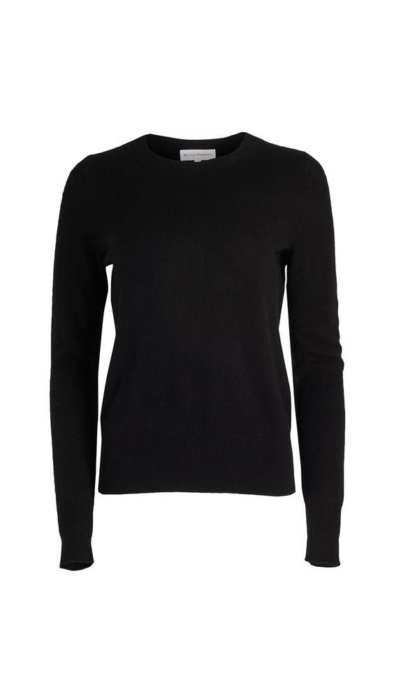 White + Warren White + Warren Cashmere Long Sleeve Crew Neck Sweater in black