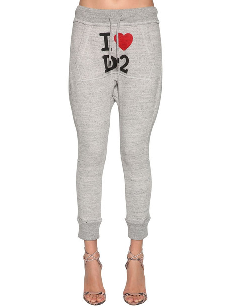 DSQUARED2 Logo Printed Cotton Jersey Track Pants in grey