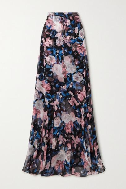 Erdem - Giacinta Floral-print Silk-chiffon Maxi Skirt - Black