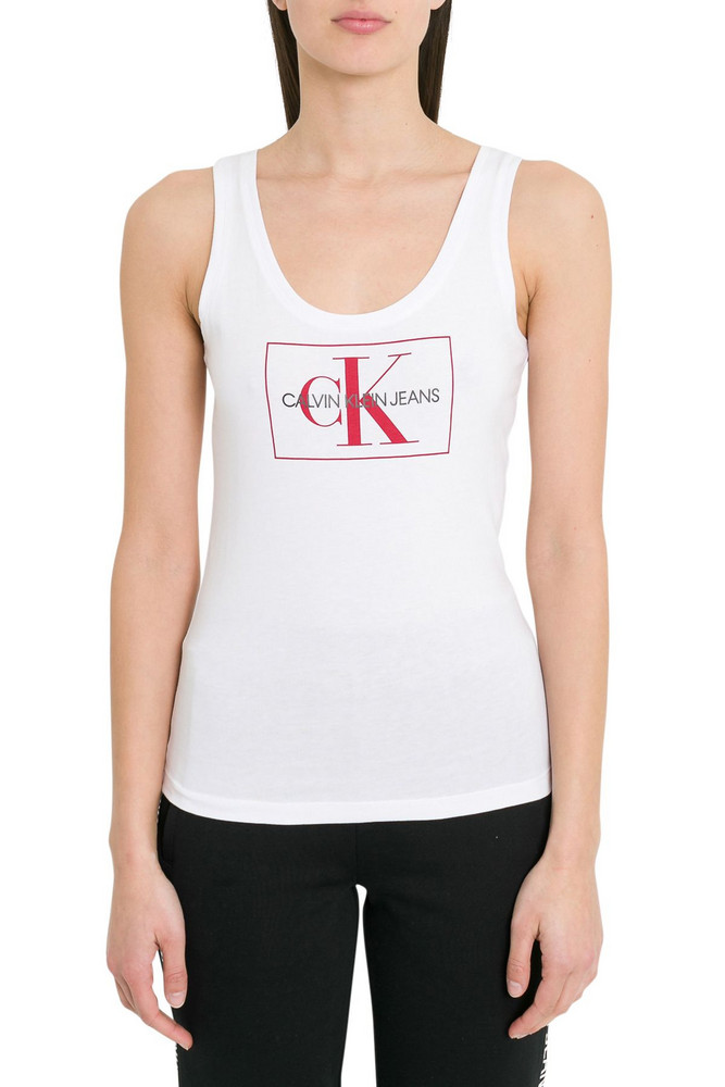 Calvin Klein Jeans Ck Tank Top in bianco