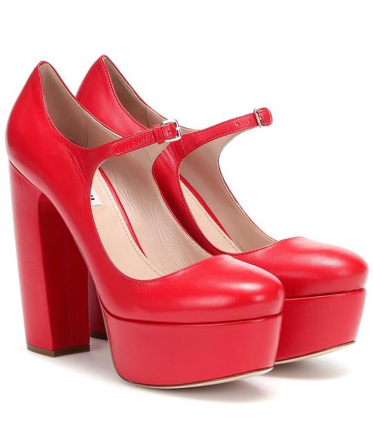 Miu Miu Leather Mary Jane platform pumps in red