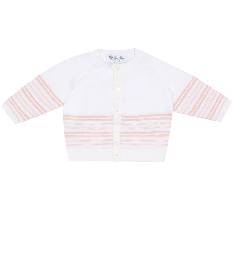 Loro Piana Kids Baby striped cotton cardigan in white