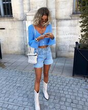 sweater,crop tops,cardigan,denim shorts,shorts,boots,bag
