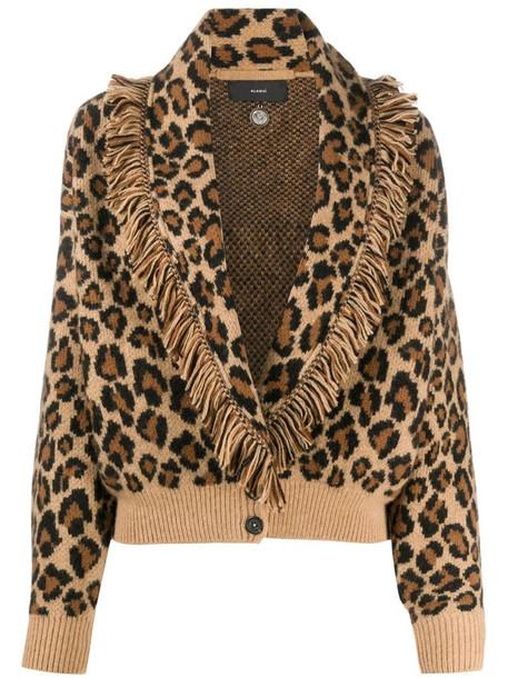 Alanui leopard print cardigan in brown