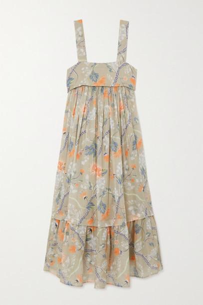 Chloé Chloé - Ruffled Tiered Floral-print Ramie Midi Dress - Green
