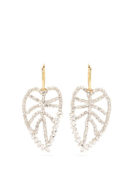 Lizzie Fortunato - Crystal Leaf Gold Plated Earrings - Womens - Crystal
