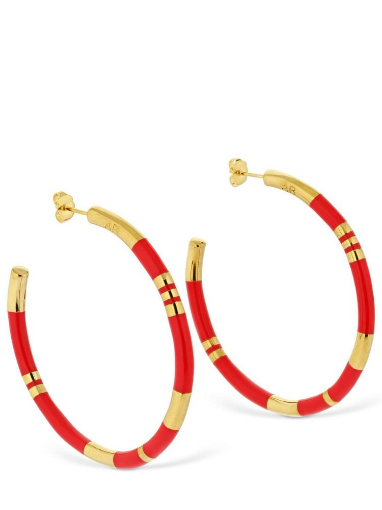 AURELIE BIDERMANN Large Positano Hoop Earrings in gold / coral