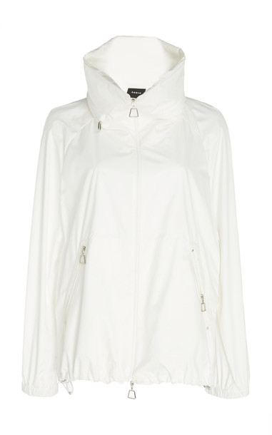 Akris Stand Up Collar Silk Jacket in white