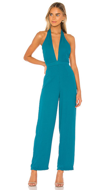 superdown Kelly Halter Jumpsuit in Teal
