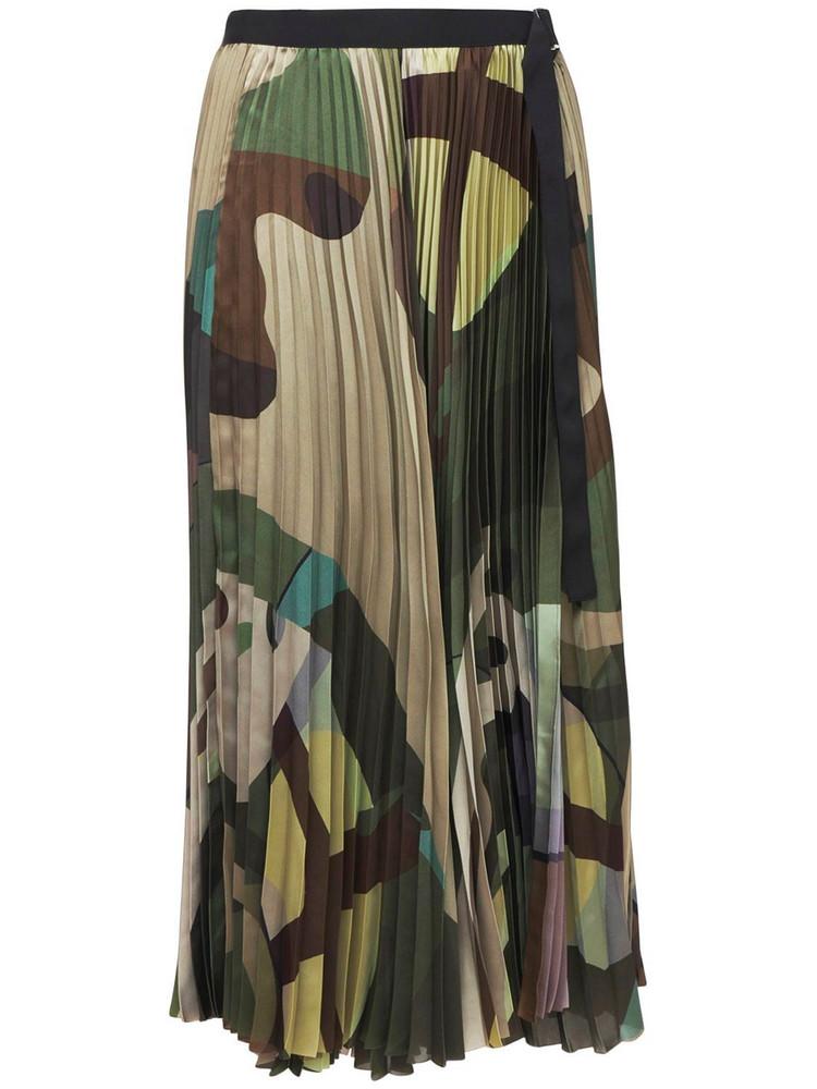 SACAI Camo Printed Pleated Nylon Midi Skirt