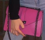 bag,crossbody bag,hot pink,fuchsia,brand,chain,style,fashion,pink,feminine