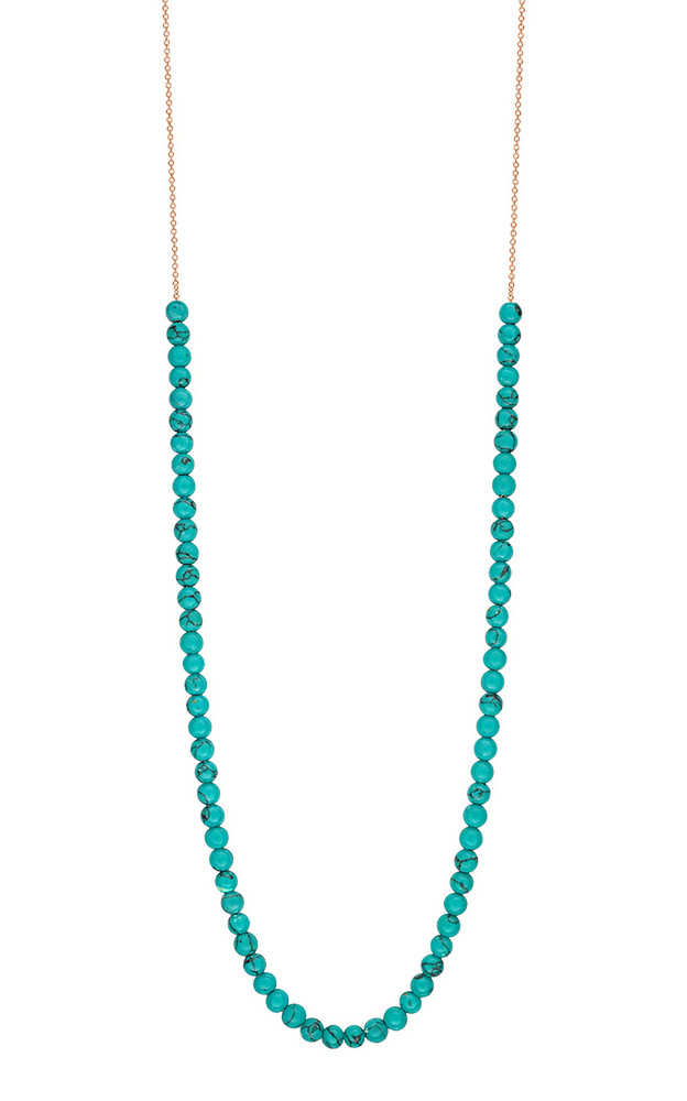 Ginette NY Mini Maria 18K Rose Gold Turquoise Necklace in blue