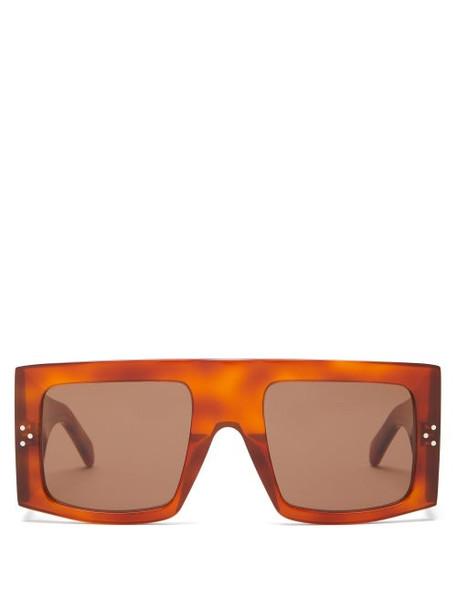 Celine Eyewear - Flat Top Square Acetate Sunglasses - Womens - Tortoiseshell
