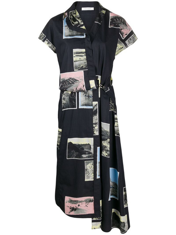 Cédric Charlier asymmetric patch-work dress in blue