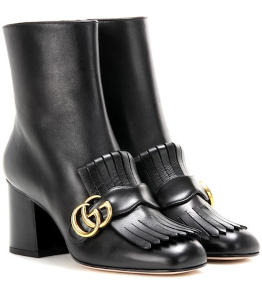 Gucci Embellished leather ankle boots in black