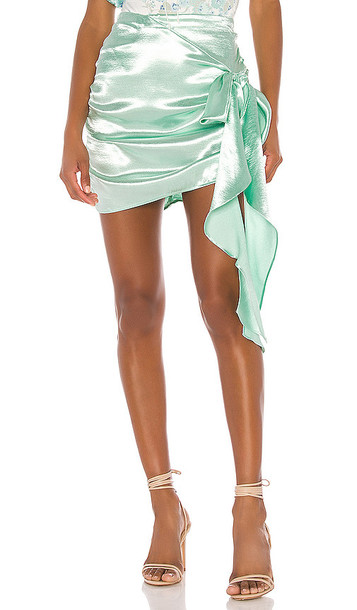 For Love & Lemons Bowie Metallic Mini Skirt in Mint