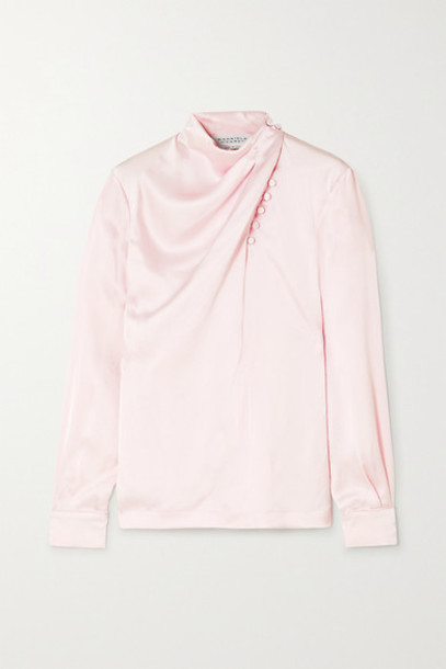Gabriela Hearst - Marcelina Draped Hammered-silk Blouse - Pastel pink