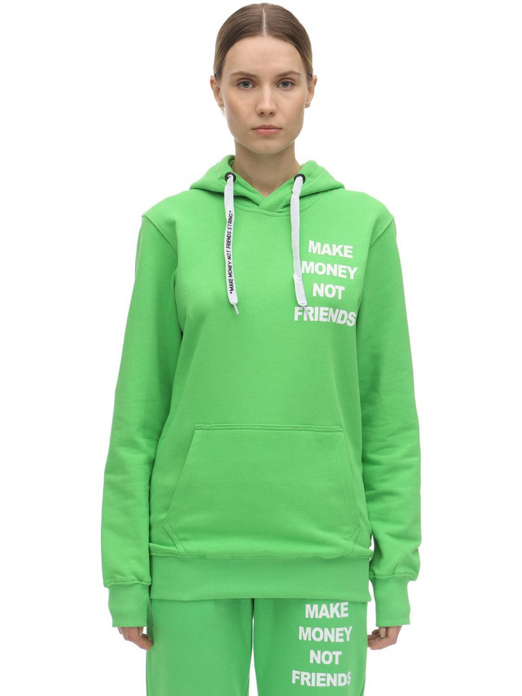 MAKE MONEY NOT FRIENDS Logo Print Cotton Sweatshirt Hoodie in green