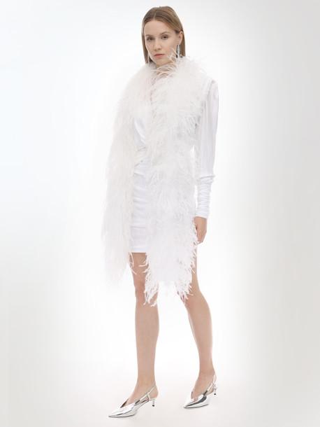 SIMONETTA RAVIZZA Ostrich Feather Scarf in white