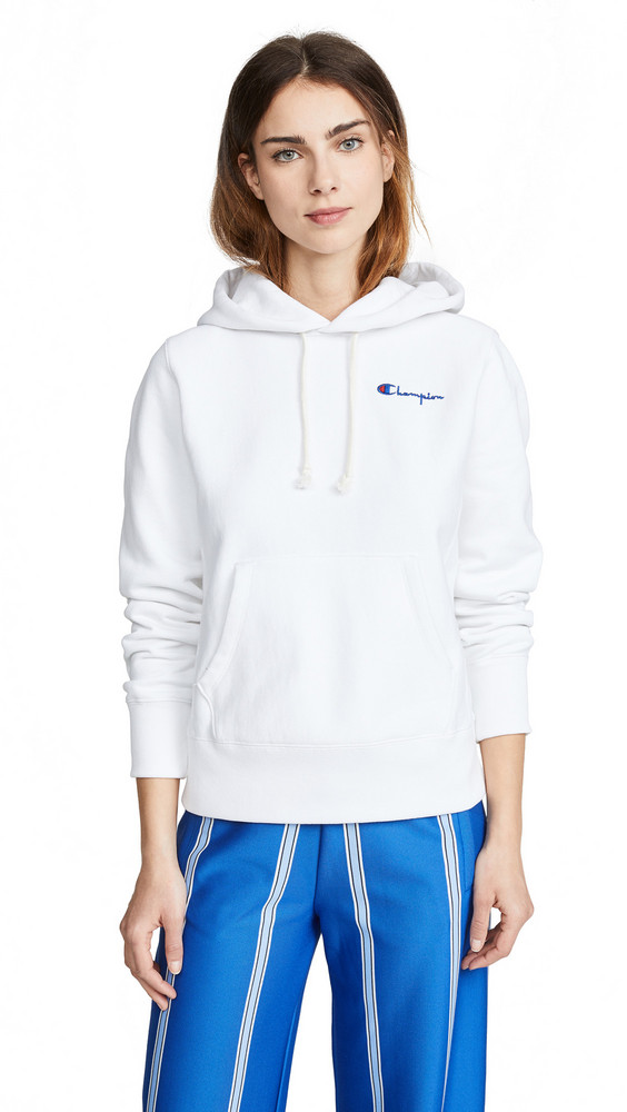 Champion Premium Reverse Weave Hooded Sweatshirt in white