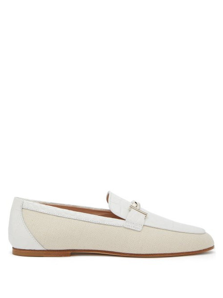 Tod's - Double T Bar Leather And Canvas Loafers - Womens - White