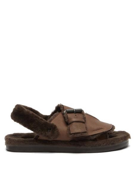 Álvaro Álvaro - Shearling-lined Leather Sandals - Womens - Brown