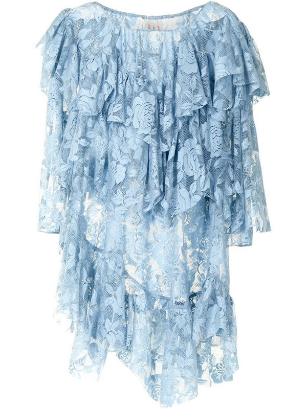 yuhan wang lace-panel ruffled blouse in blue