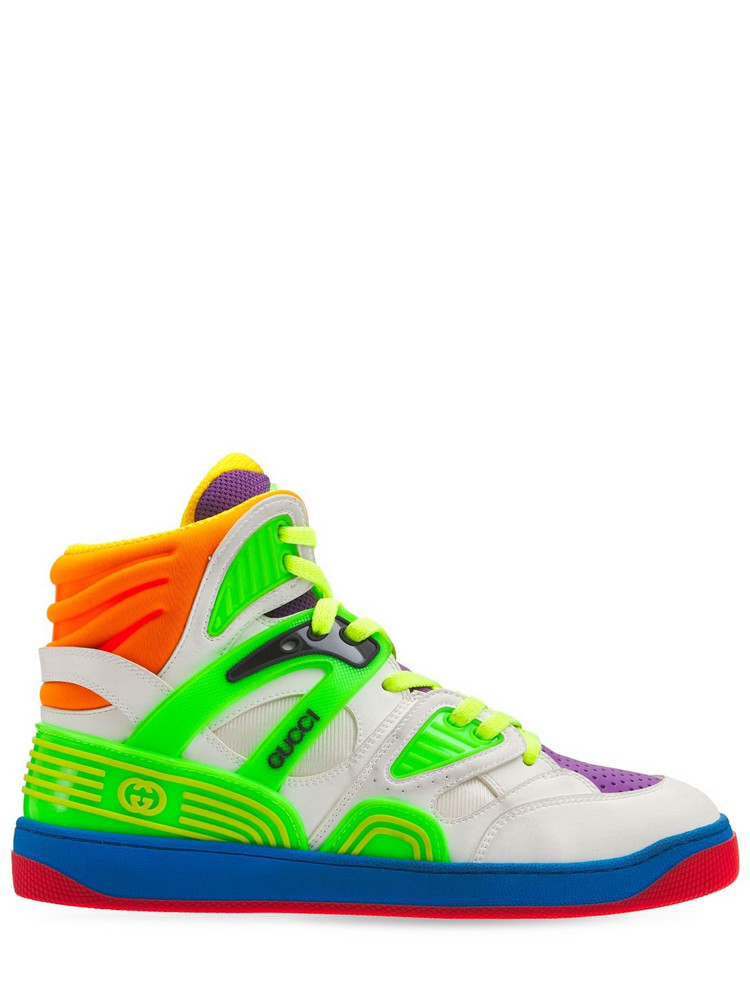 GUCCI 25mm Basket High-top Sneakers in green / multi