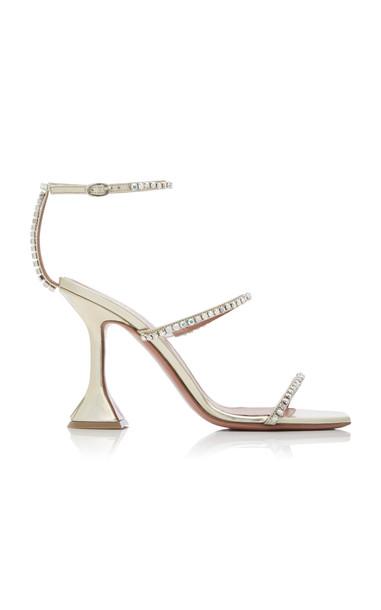 Amina Muaddi Gilda Crystal-Embellished Leather Sandals in gold