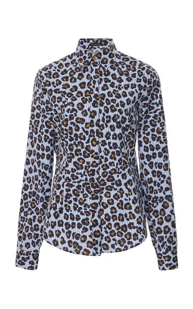 Versace Leopard-Print Cotton Poplin Shirt in blue