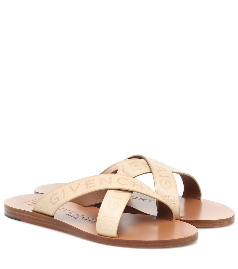 Givenchy Logo leather sandals in beige