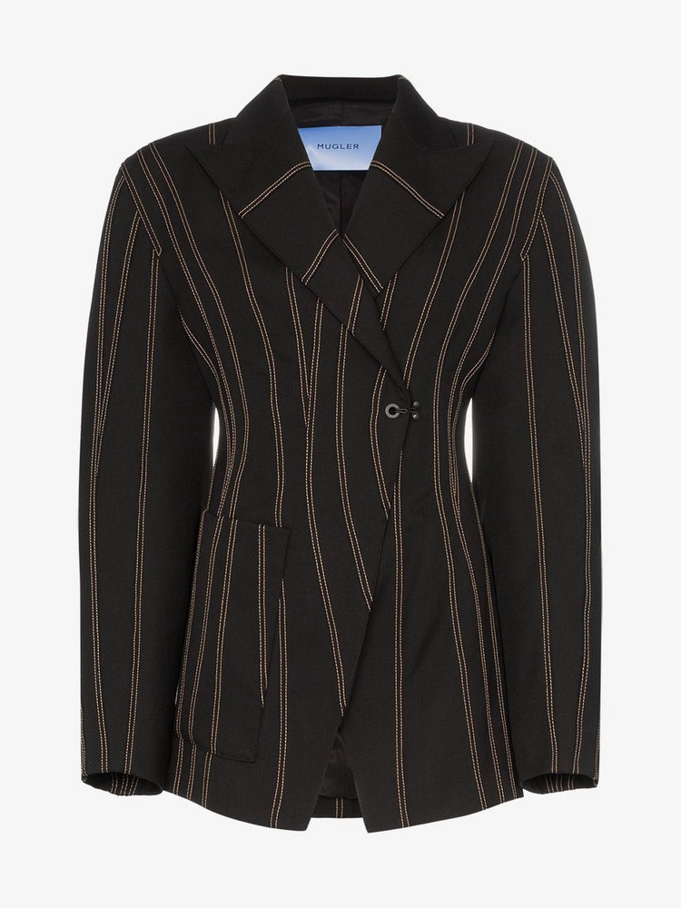 Mugler Exaggerated waist striped blazer in black
