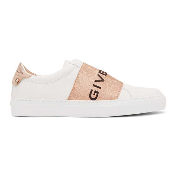 Givenchy White & Copper Elastic Urban Knot Sneakers