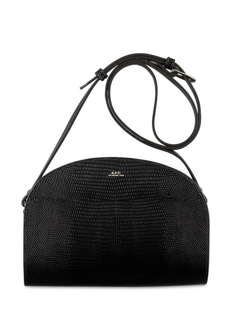 A.P.C. Demi Lune Croc Embossed Leather Bag in black
