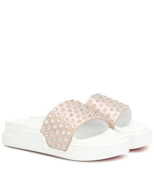 Christian Louboutin Pool Fun embellished leather slides in beige