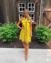 dress,midi dress,yellow dress,sandals,bow dress