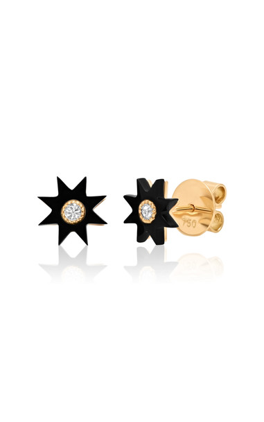 Colette Jewelry Star 18K Yellow Gold, Onyx, and Diamond Stud Earrings in black