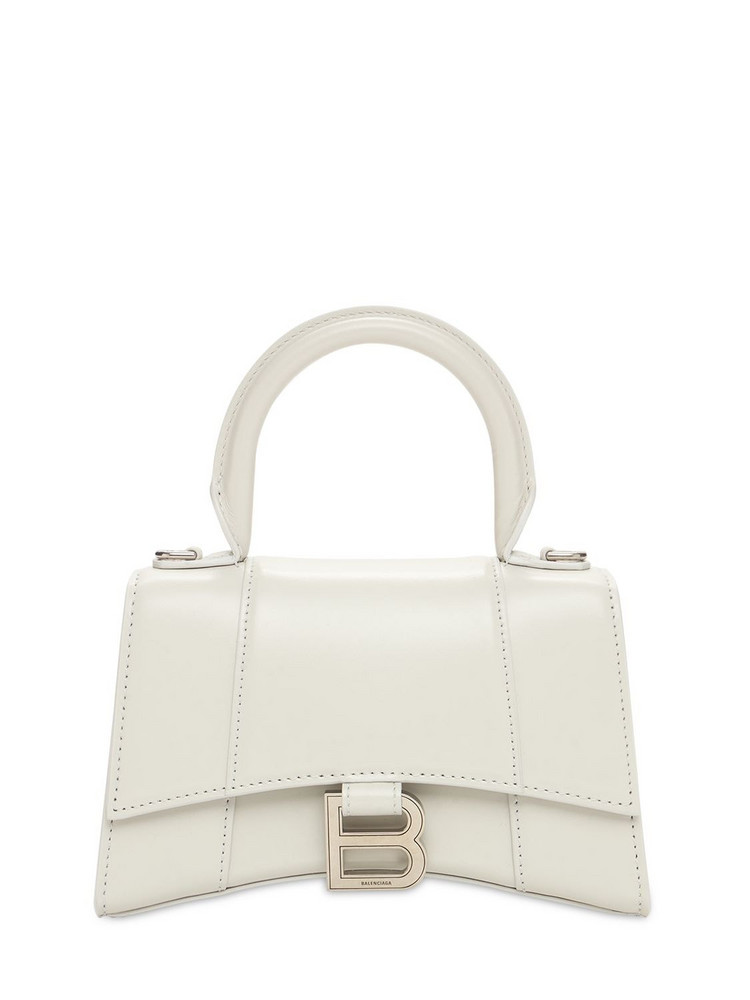 BALENCIAGA Xs Hourglass Smooth Leather Bag in white