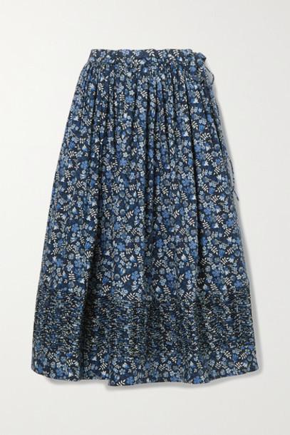 Horror Vacui - Margot Ruched Floral-print Cotton-poplin Midi Skirt - Navy