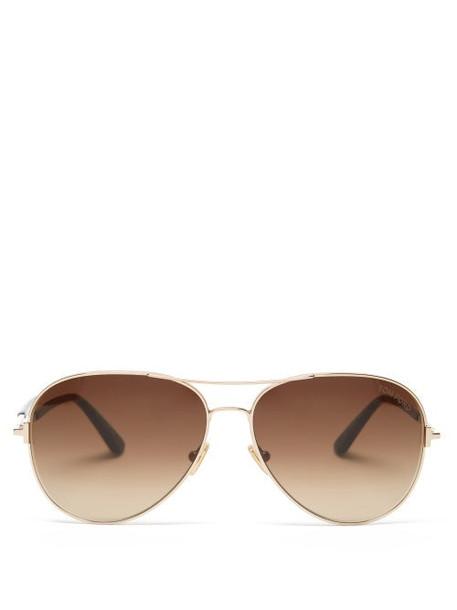 Tom Ford Eyewear - Clark Aviator Metal Sunglasses - Womens - Rose Gold