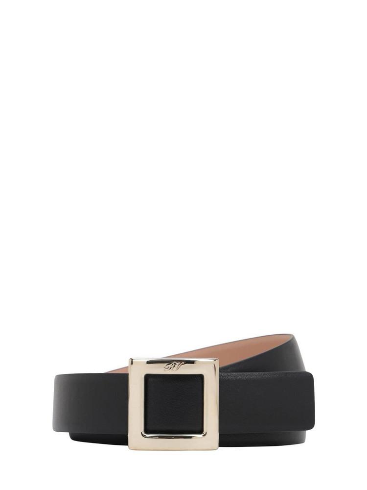 ROGER VIVIER 30mm Trés Vivier Leather Belt in black