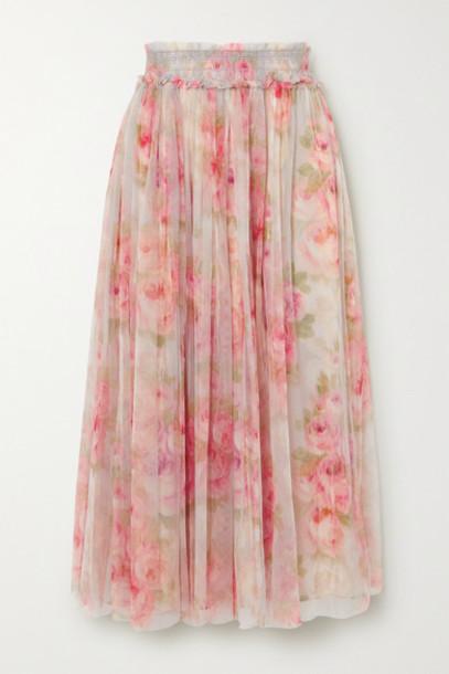 Needle & Thread - Ruby Bloom Smocked Ruffled Floral-print Tulle Midi Skirt - Sky blue