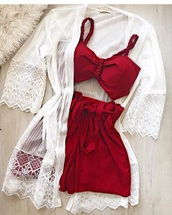 shorts,red two piece,white cardigan,shirt