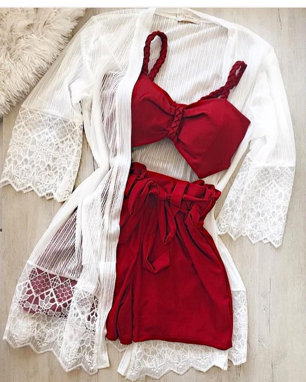 shorts red two piece white cardigan shirt