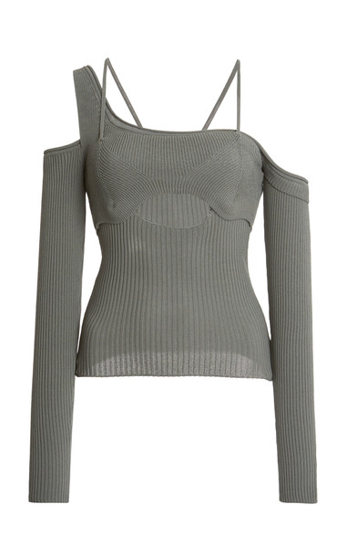 Jacquemus Figuerolles Asymmetric Ribbed-Knit Top in green
