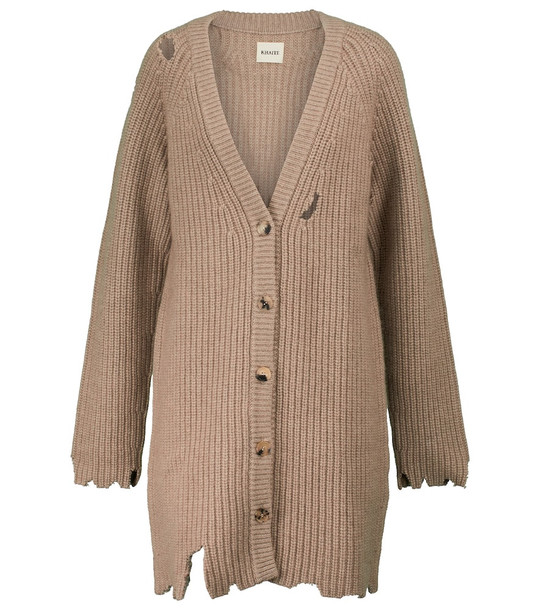 KHAITE Rory ribbed-knit cashmere cardigan in brown