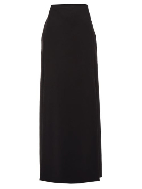 Valentino - High-rise Double-slit Wool-blend Skirt - Womens - Black