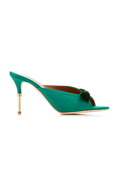 Malone Souliers Paige Satin and Velvet Mules in green