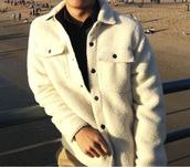 jacket,shearling jacket,menswear,mens jacket,white,beige