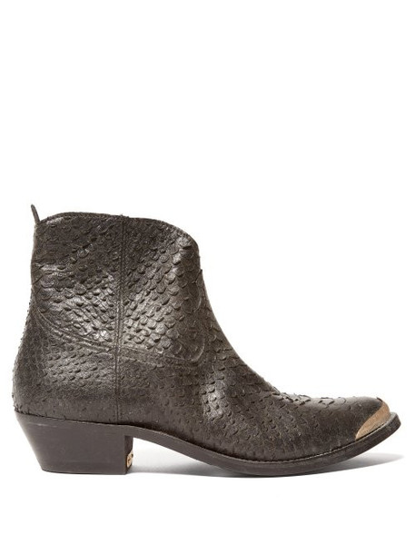Golden Goose - Western Snake Effect Leather Boots - Womens - Black